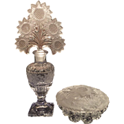 Imperial Crystal Sunflower Pattern (E-106) Tall Cologne, Dauber & Covered Powder