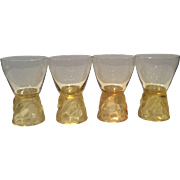 R. Lalique Set of 4 Amber Marienthal 4 Ounce Goblets in Pattern No. 5127
