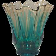Fostoria Amber with Peacock Blue Hawaiian Pattern #767 Ruffled Vase