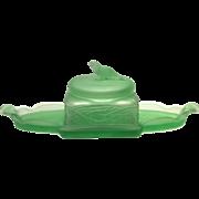 """Dermay, Inc., 5th Ave, NY"" Green Satin Tweety Bird Vanity Set - Tray & Powder Covered Puff Box"