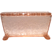 "Fostoria Rose (Pink) Oak Leaf 7-1/4"" (L) 2-Piece Window Box Vase"