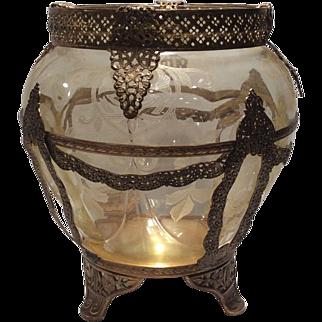 "Cambridge Gold Krystal (Yellow) Apple Blossom Etched 7-3/4"" Globe Vase in Metal Ormolu"
