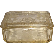 Cambridge Gold Krystal (Yellow) Apple Blossom Etched Covered Cigarette Box