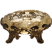 Cambridge Gold Krystol (Yellow) Apple Blossom Etched Small Ashtray in Metal Ormolu