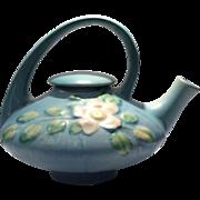 Roseville Blue Background Color White Rose Pattern Covered Teapot