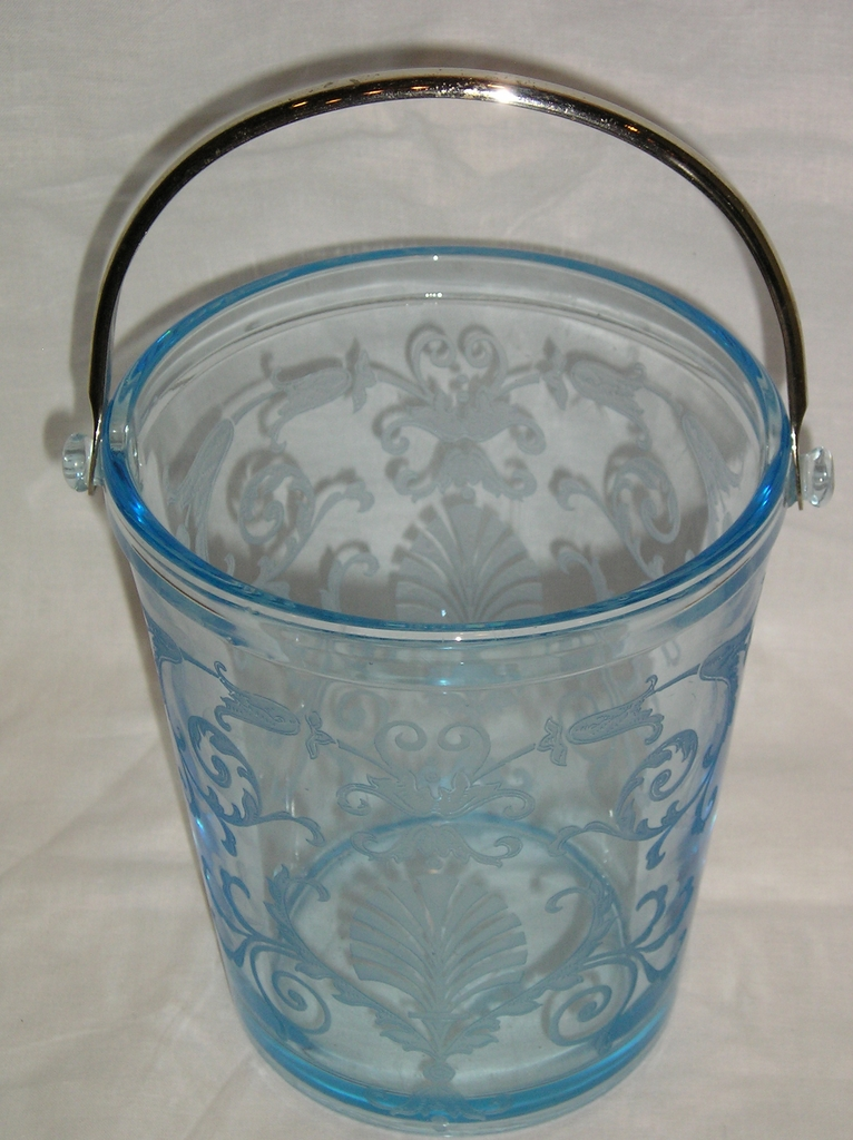 Fostoria Versailles Azure Blue Ice Bucket with Handle