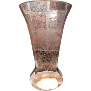 "Paden City Cheriglo (Pink) Peacock & Rose 11-3/4"" Vase"