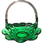 "Fenton Priscilla Green Handled 12"" Basket"
