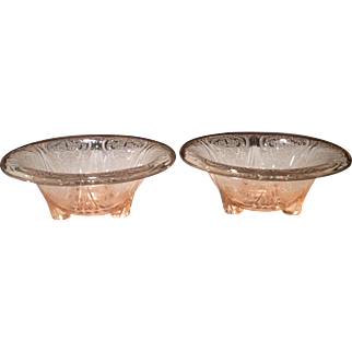Hazel Atlas Pink Royal Lace Pair Rolled Edge Candlesticks
