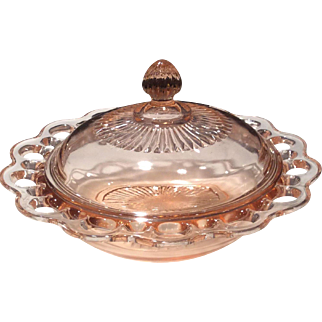 Hocking Glass Co. Pink Old Colony Covered Butter