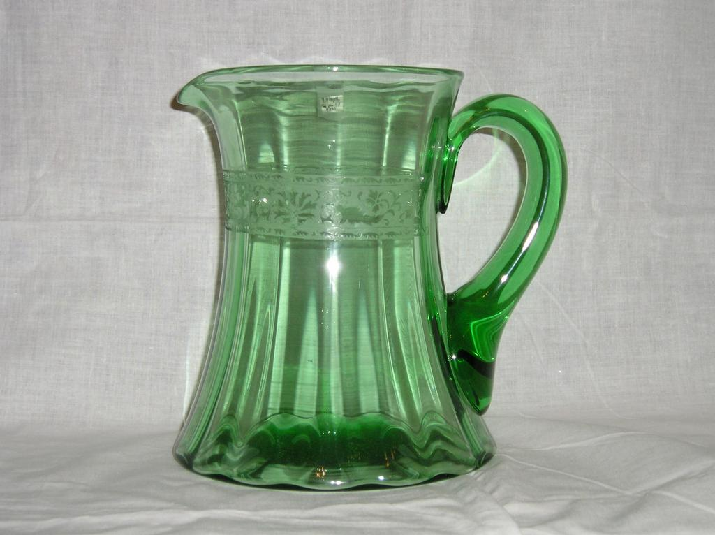 Fostoria No. 6 Jug with Royal Etching in Green Color