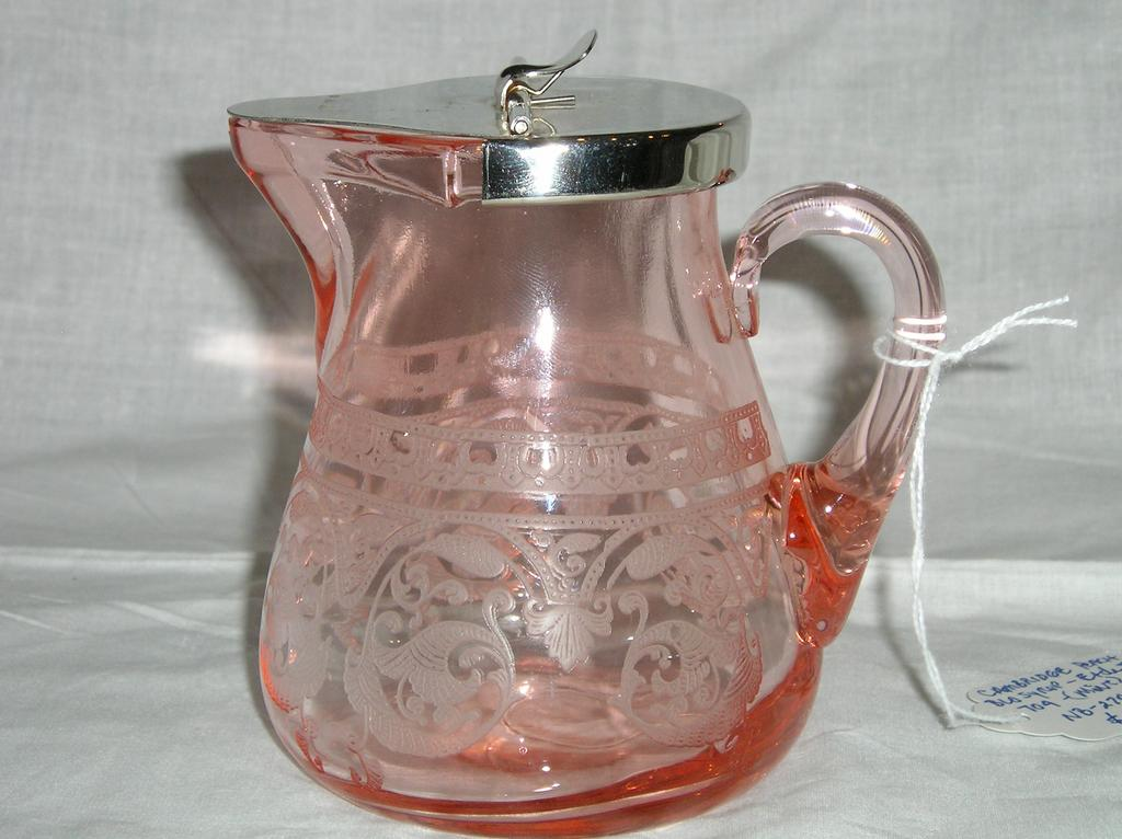 Cambridge Peach Blo Syrup w/ Etching #704 Decoration