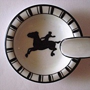 Vintage Noritake Art Deco Ashtray with figural horse and rider