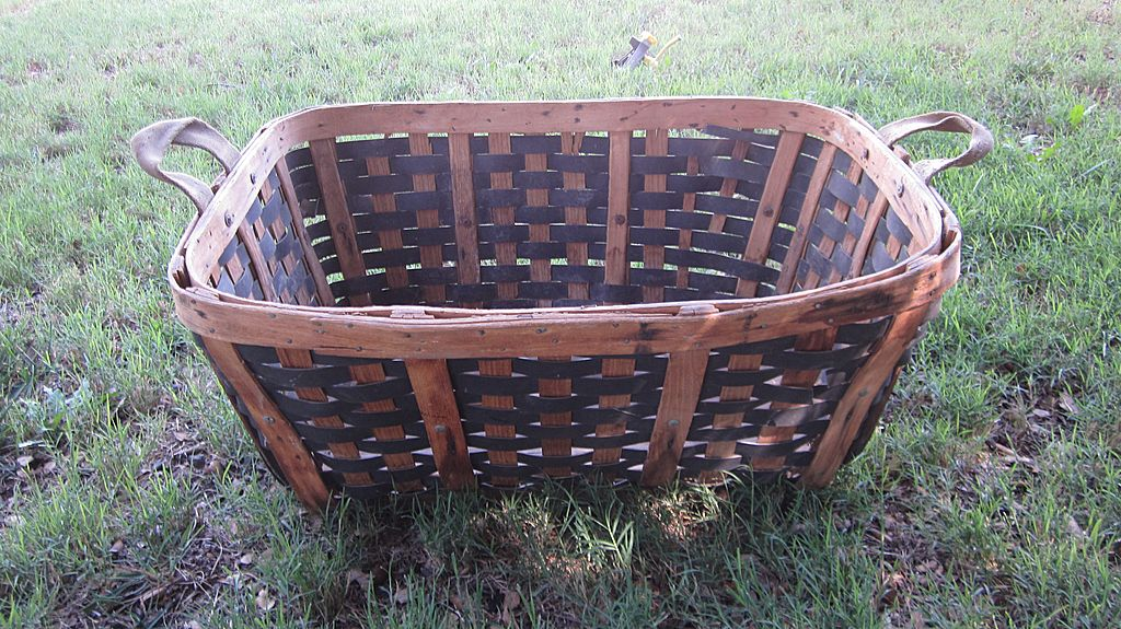 Large, Old, Bent Wood, Woven Harvest Basket with Canvas Handles