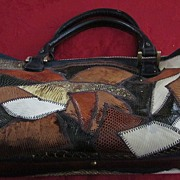 1970's Varon Genuine Lizard Patchwork Leather Hand Bag