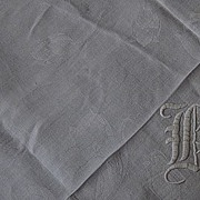 "68""x72"", ""H"" Monogram  Damask Linen Table Cloth"