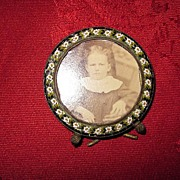 Small Round Micro Mosaic Picture Frame with Victorian Child's Photo