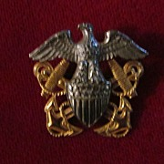 WWII US Navy Officer's Sterling/10K GF Emblem Sweetheart Pin