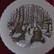 "Vernon Kilns 14"" Chop Plate ""Tapping For Sugar"""