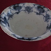 "Flow Blue J & G Meakin Louvre Pattern, 9"" Serving Bowl"