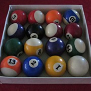 Billiard Balls, Set of 15 plus Cue Ball, in Original Box