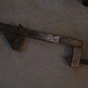 "Primitive Wooden Bar Clamp, 30"" Long, Wooden Screw"