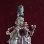1950's Boudoir Lamp, Dancing Couple, White, Pink, Gold, Japan
