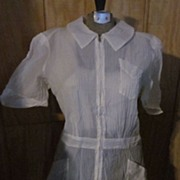 1940's Barco Zipper Front White Crepe Nurse's Dress, L-XL