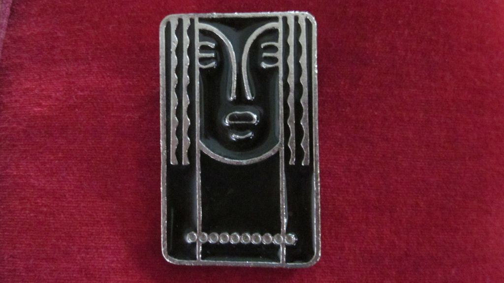 Ritz Black Enamel and Pewter Lady Pin