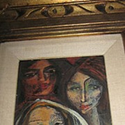 Carlos Lopez Ruiz- Modernist, Oil on Board, Three Women