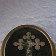 Tramp Art Notched and Stacked Paper Cross Memorial in Oval Frame