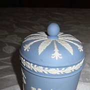 Wedgwood Jasperware Light Blue and White Round Covered Jar