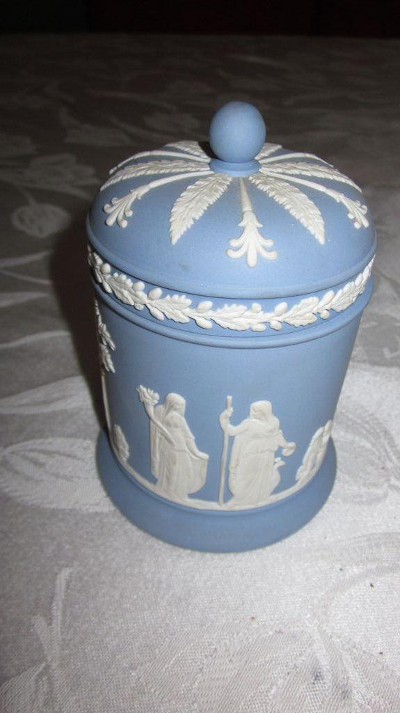 Wedgwood Jasperware Light Blue And White Round Covered Jar
