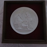 Greek Medallion, Bisque Ware, in Square Frame