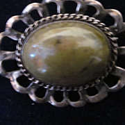 Moss Agate and Sterling Silver Brooch