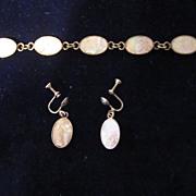 Mother of Pearl, Sterling Demi Parure, Bracelet, Screw Back Earrings