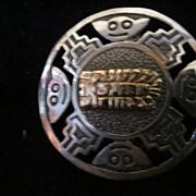 Sterling Silver/18K Peru Inca Design Round Pin/Pendant