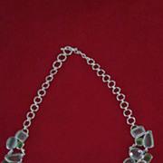 Blue Topaz, Peridot, Sterling Silver Massive Gorget Necklace