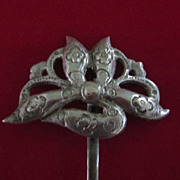 Chinese Flower Hair Pin, Sterling