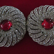 "Red Cabochon, Spiraling Paste, 2"" Round Belt Buckle"