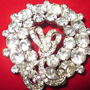 Weiss Large Crystal Rhinestone Brooch , Wreath with Bow