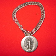 Silver Plated Charm Bracelet with Silver Virgin Mary Charm