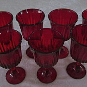Set of 7 Ruby Red, 8 oz. Wine Goblets