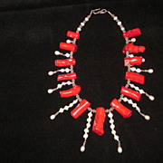 """Red Coral Frangia, Baroque Pearl, Sterling Silver, 19"""" Necklace"""
