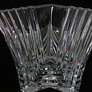 "Art Deco Design Stepped Side Crystal Bowl, 6"" X 9 1/2"""