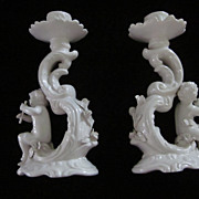 "Pair Cupid White Porcelain Italian 7"" X 4"" Candle Holders"