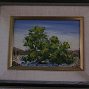 Henry R. Mockel, California Artist, Desert Oil, Cottonwood Tree