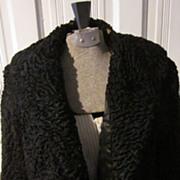1920s Black, Persian Curly Lamb Short Jacket, Bullock's Los Angeles