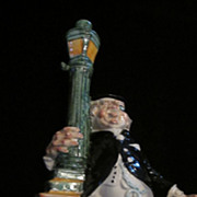 Barsottini Italian Ceramic Wine Bottle, Drunk Supporting Lamppost