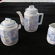 Victorian Stag 750 Child's Tea Set, Blue and White Transfer, 19 pc